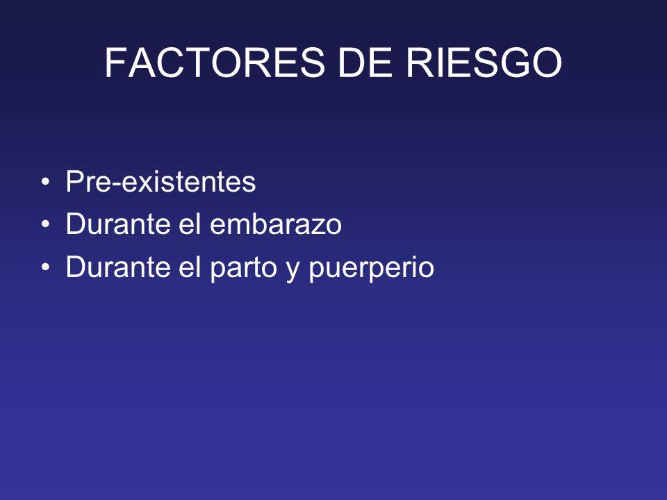 FACTORES DE RIESGO Pre-existentes Durante el embarazo