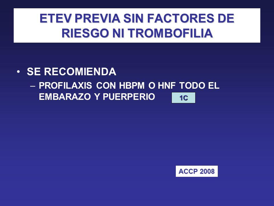 ETEV PREVIA SIN FACTORES DE RIESGO NI TROMBOFILIA