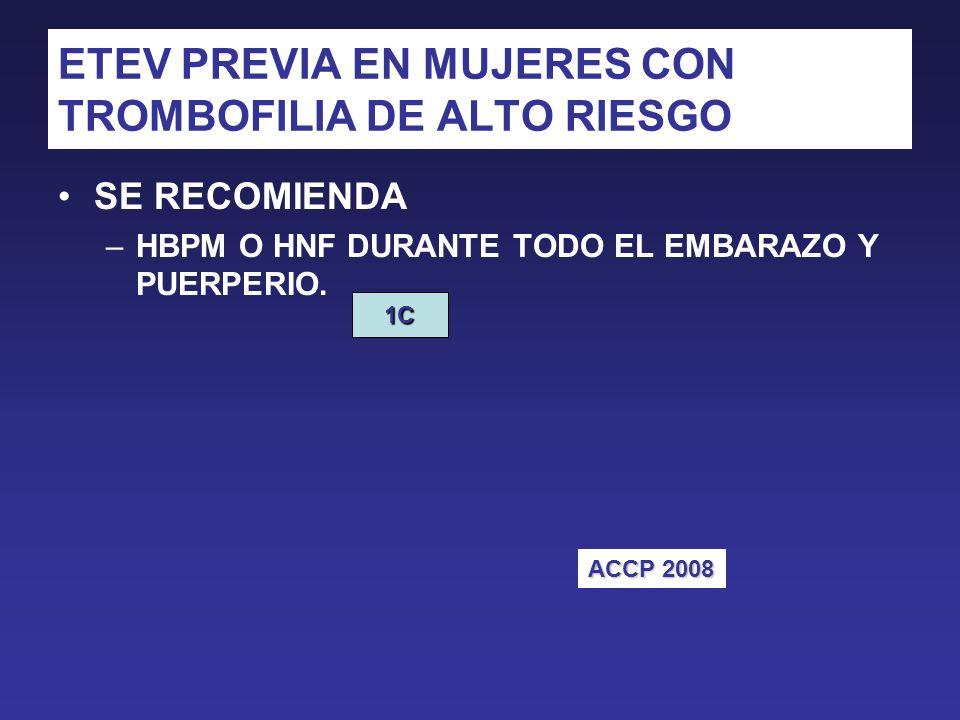 ETEV PREVIA EN MUJERES CON TROMBOFILIA DE ALTO RIESGO
