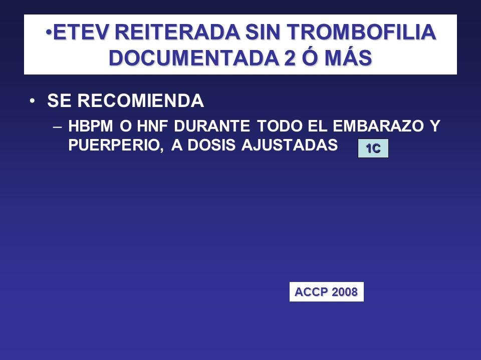 ETEV REITERADA SIN TROMBOFILIA DOCUMENTADA 2 Ó MÁS