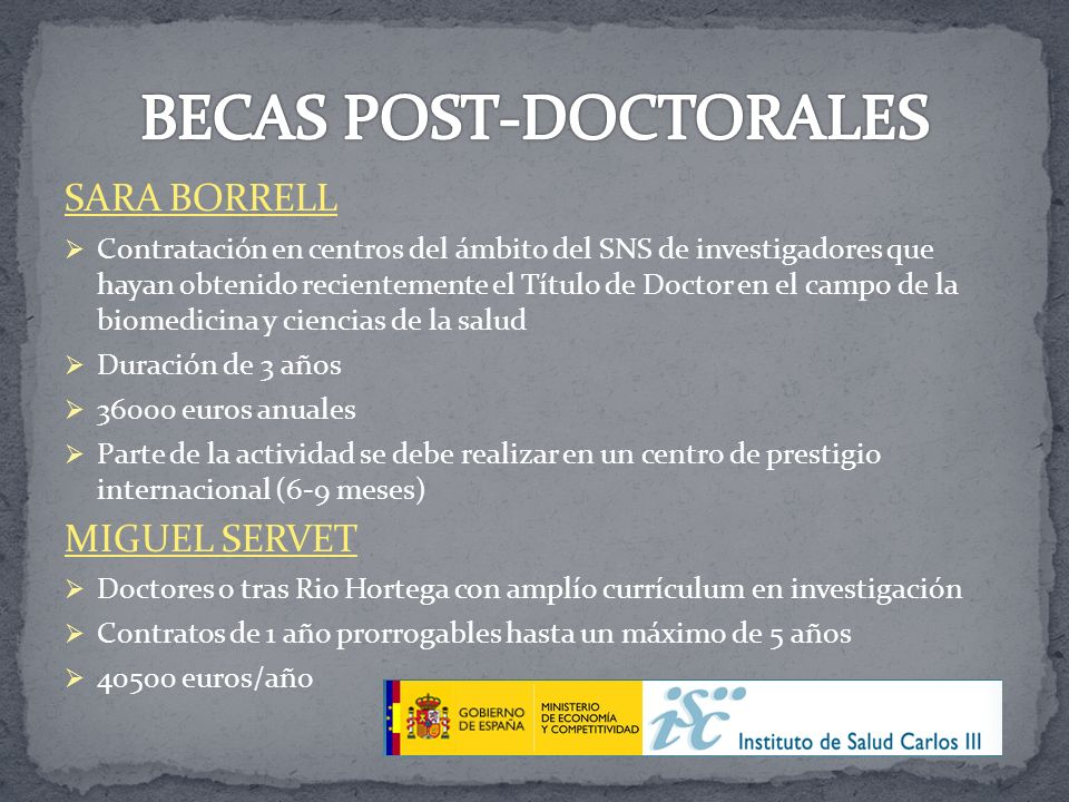 BECAS POST-DOCTORALES