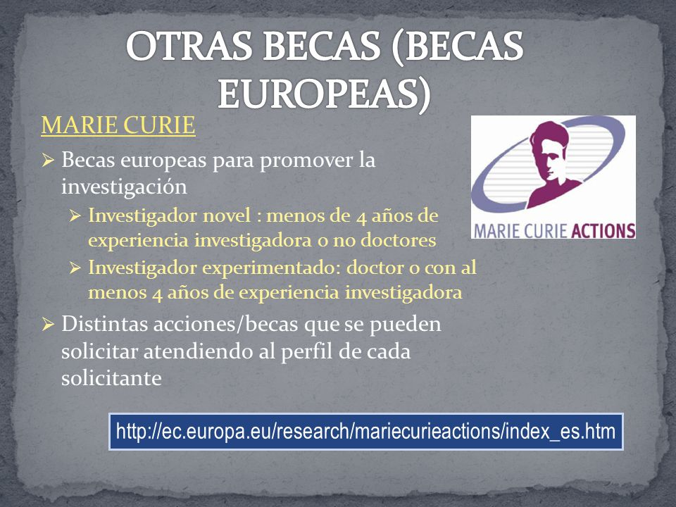 OTRAS BECAS (BECAS EUROPEAS)
