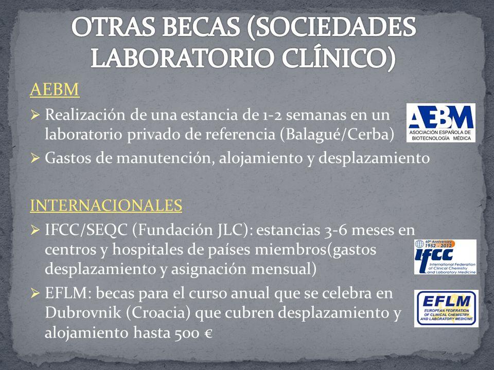 OTRAS BECAS (SOCIEDADES LABORATORIO CLÍNICO)