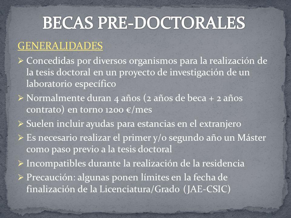 BECAS PRE-DOCTORALES GENERALIDADES