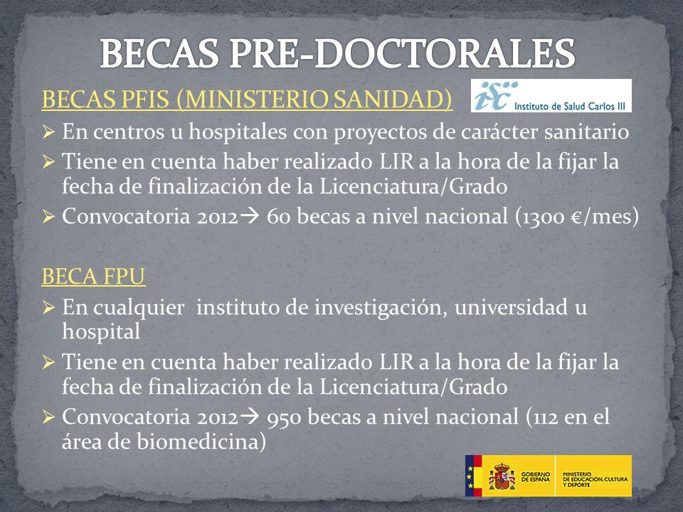 BECAS PRE-DOCTORALES BECAS PFIS (MINISTERIO SANIDAD)