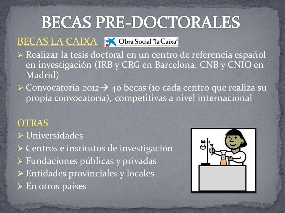 BECAS PRE-DOCTORALES BECAS LA CAIXA