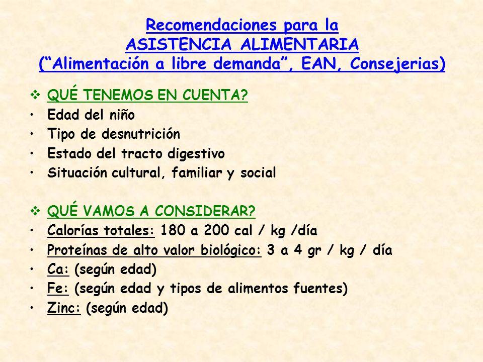 Recomendaciones para la ASISTENCIA ALIMENTARIA ( Alimentación a libre demanda , EAN, Consejerias)