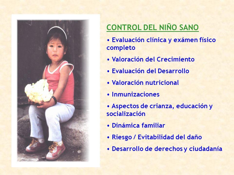 CONTROL DEL NIÑO SANO Evaluación clínica y exámen físico completo