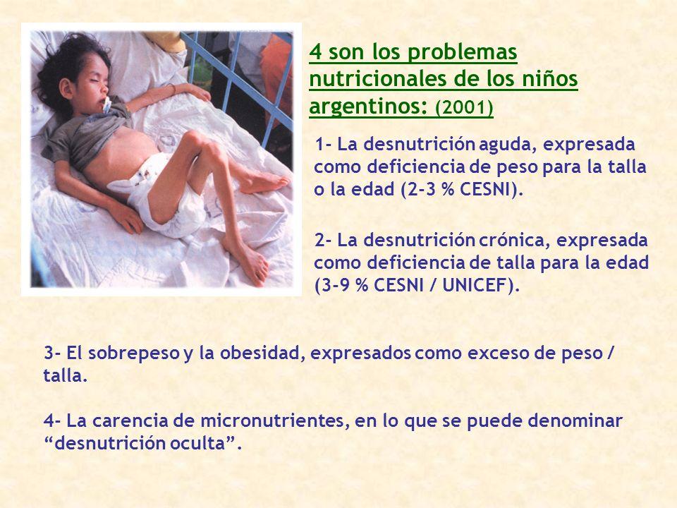 4 son los problemas nutricionales de los niños argentinos: (2001)