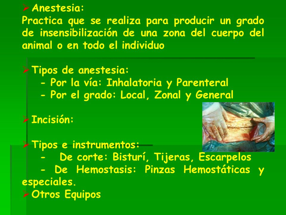 Anestesia: Practica que se realiza para producir un grado de insensibilización de una zona del cuerpo del animal o en todo el individuo.