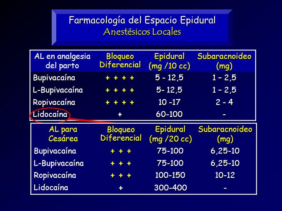 Farmacología del Espacio Epidural Anestésicos Locales