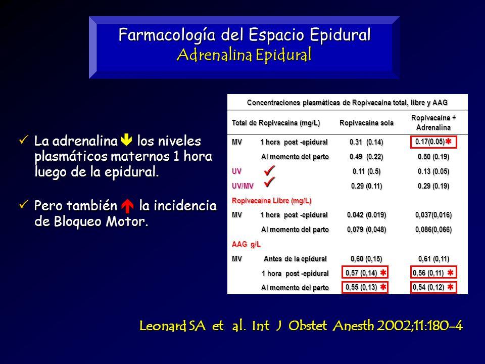 Farmacología del Espacio Epidural Adrenalina Epidural