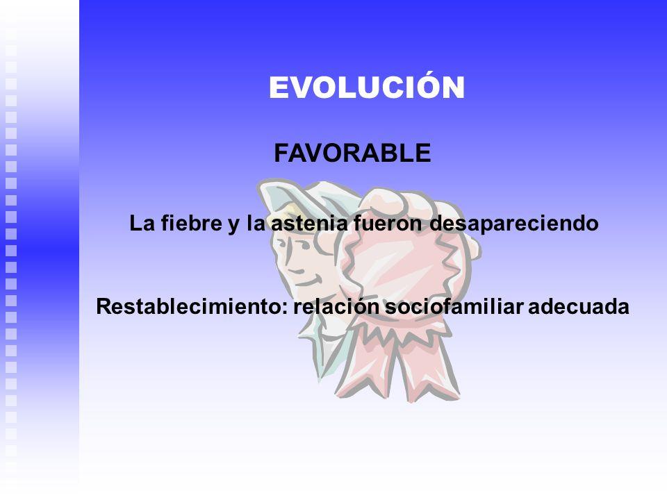 EVOLUCIÓN FAVORABLE La fiebre y la astenia fueron desapareciendo