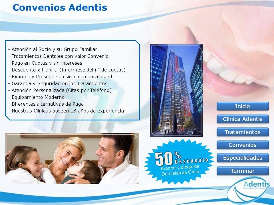 50 Convenios Adentis % Inicio Clínica Adentis Tratamientos Convenios