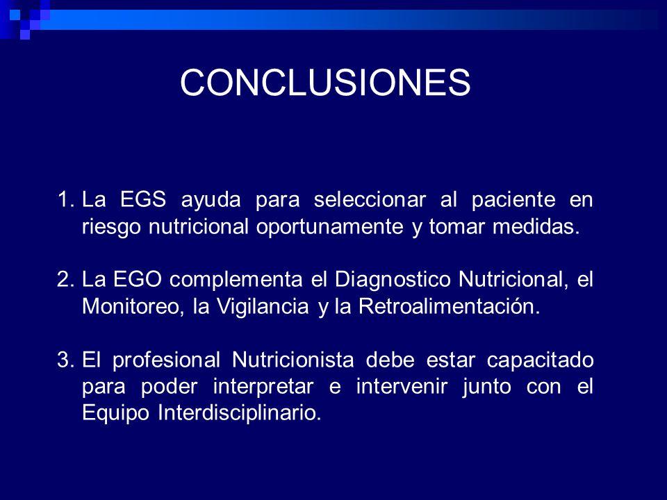 CONCLUSIONES La EGS ayuda para seleccionar al paciente en riesgo nutricional oportunamente y tomar medidas.