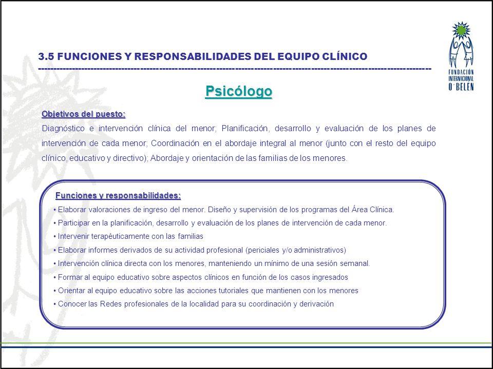 Psicólogo 3.5 FUNCIONES Y RESPONSABILIDADES DEL EQUIPO CLÍNICO