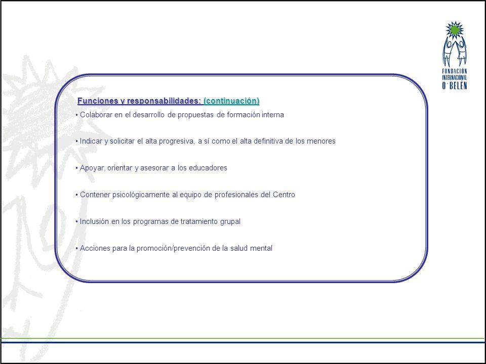 Funciones y responsabilidades: (continuación)
