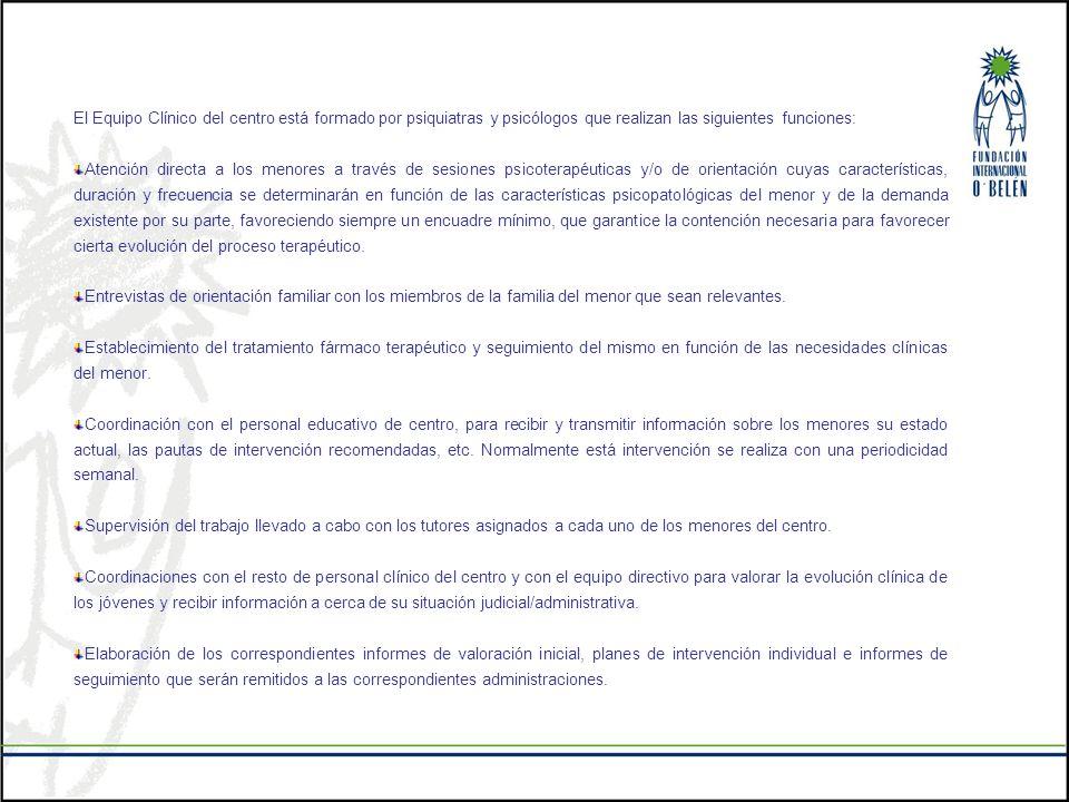 El Equipo Clínico del centro está formado por psiquiatras y psicólogos que realizan las siguientes funciones: