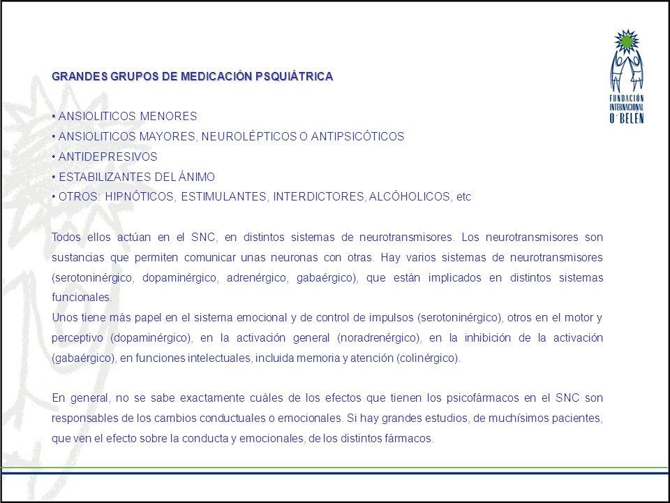 GRANDES GRUPOS DE MEDICACIÓN PSQUIÁTRICA