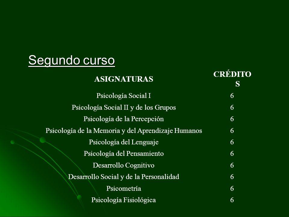 Segundo curso CRÉDITOS ASIGNATURAS Psicología Social I 6