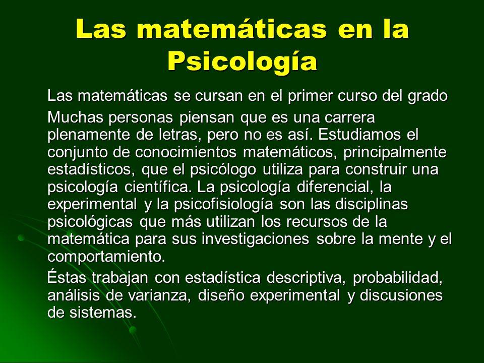 Las matemáticas en la Psicología