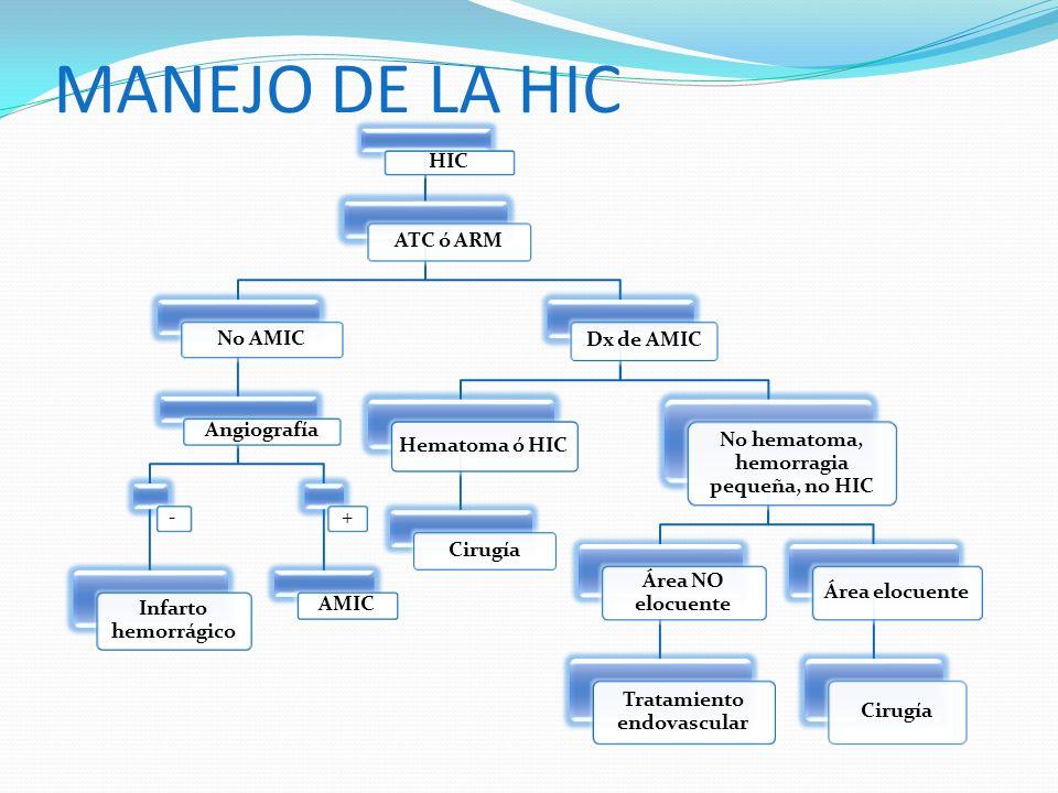 No hematoma, hemorragia pequeña, no HIC Tratamiento endovascular
