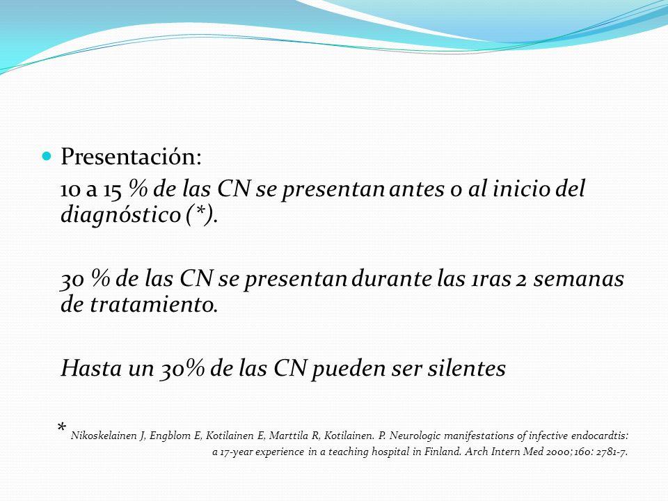 Presentación: 10 a 15 % de las CN se presentan antes o al inicio del diagnóstico (*).
