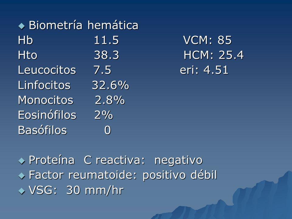 Biometría hemática Hb 11.5 VCM: 85. Hto 38.3 HCM: 25.4.