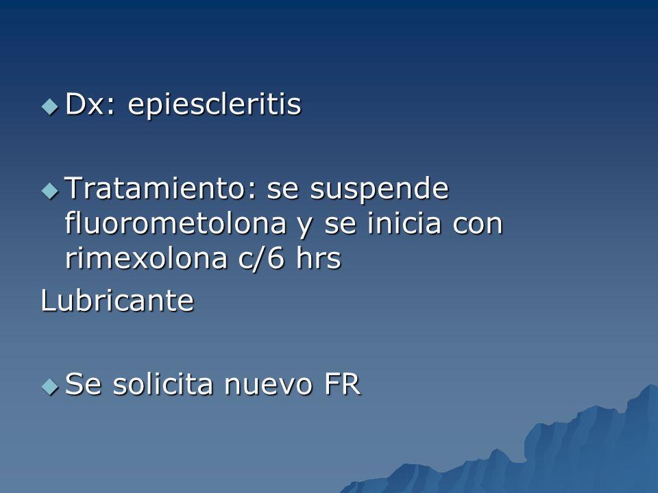 Dx: epiescleritis Tratamiento: se suspende fluorometolona y se inicia con rimexolona c/6 hrs. Lubricante.
