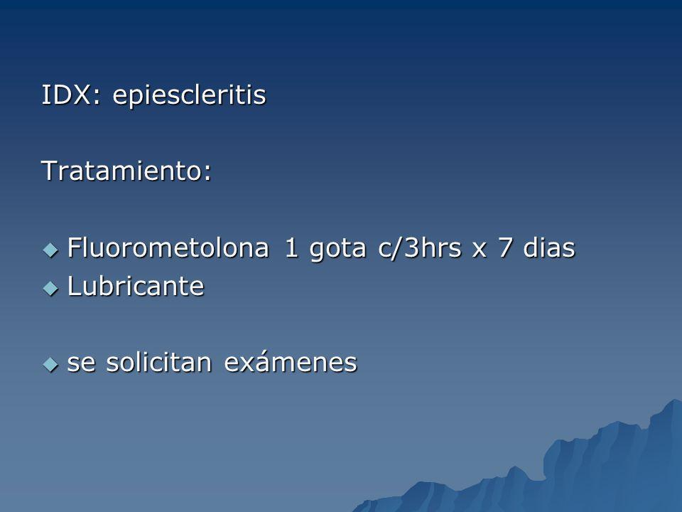 IDX: epiescleritis Tratamiento: Fluorometolona 1 gota c/3hrs x 7 dias.