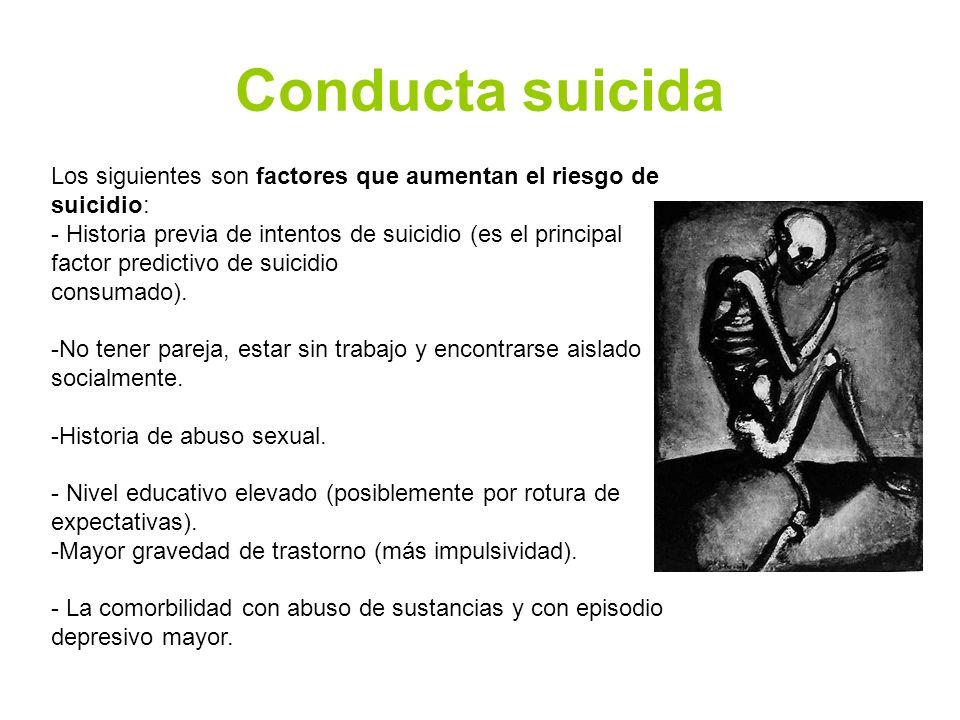 Conducta suicida Los siguientes son factores que aumentan el riesgo de suicidio: