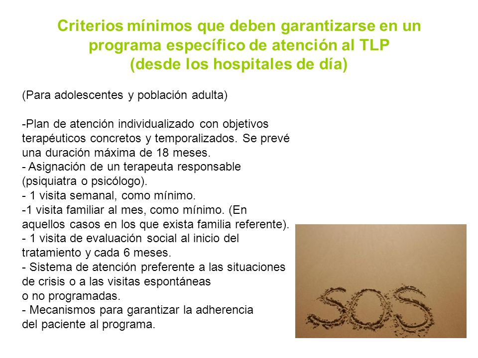 Criterios mínimos que deben garantizarse en un programa específico de atención al TLP (desde los hospitales de día)