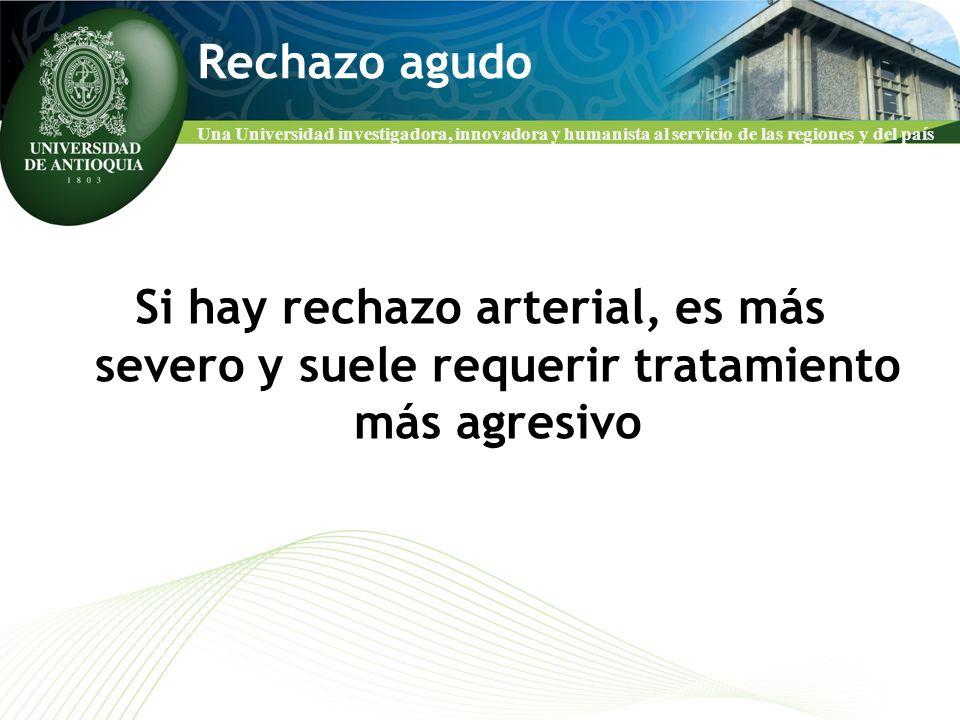 Rechazo agudo Si hay rechazo arterial, es más severo y suele requerir tratamiento más agresivo
