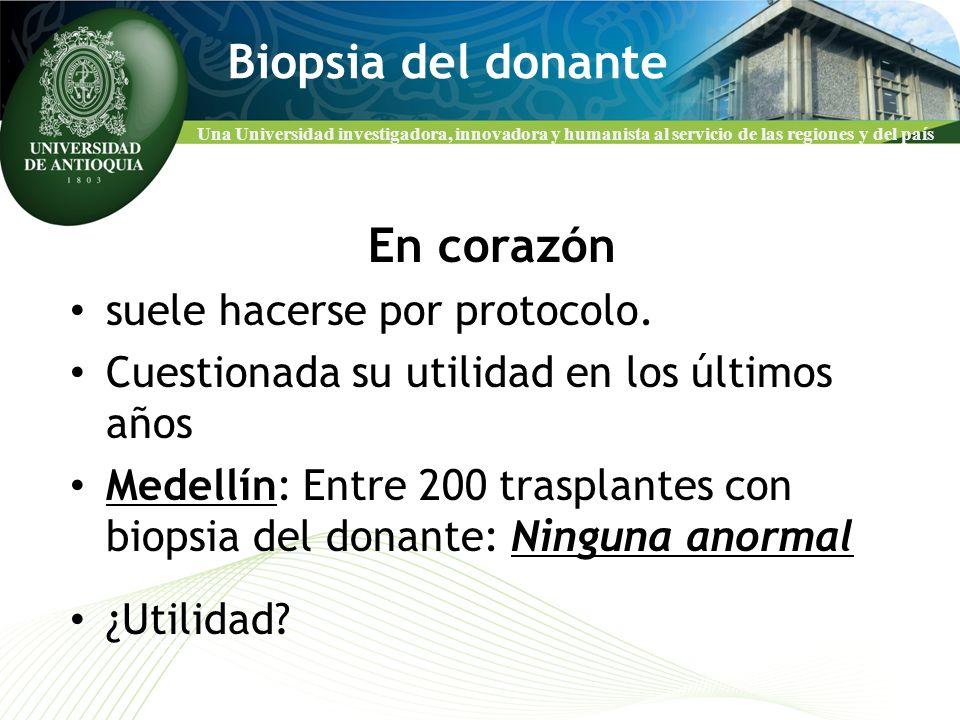 Biopsia del donante En corazón suele hacerse por protocolo.