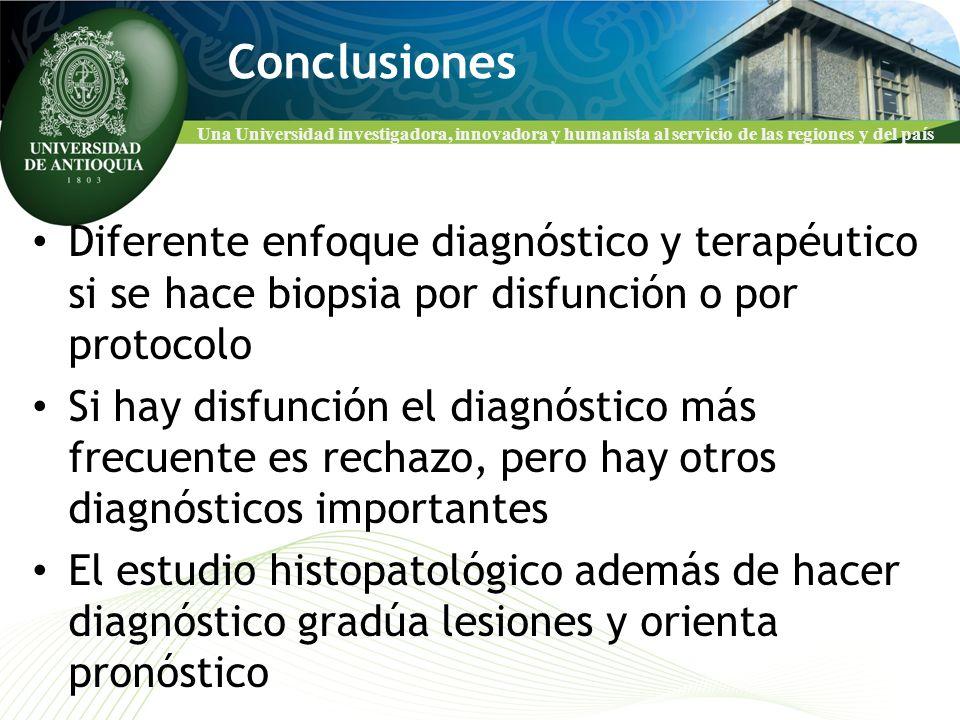 Conclusiones Diferente enfoque diagnóstico y terapéutico si se hace biopsia por disfunción o por protocolo.