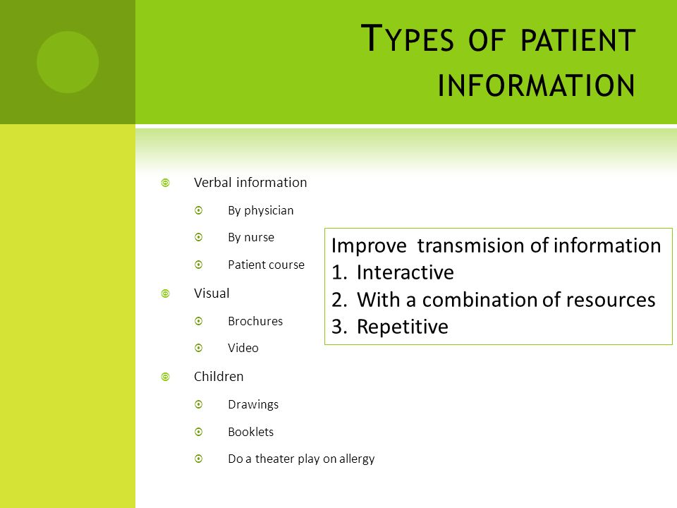 Types of patient information