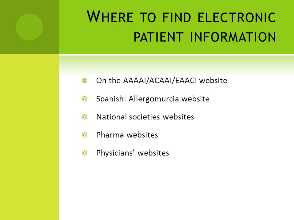 Where to find electronic patient information