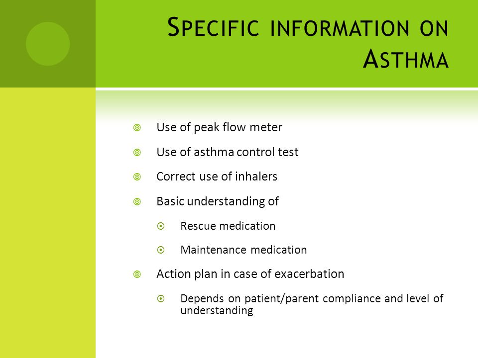 Specific information on Asthma