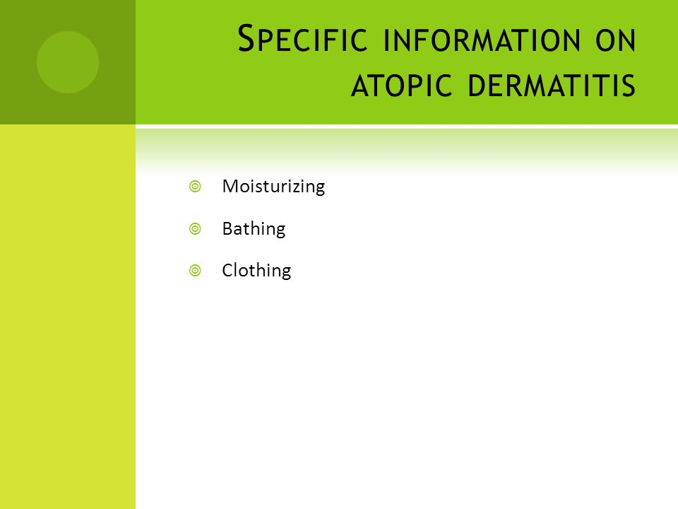 Specific information on atopic dermatitis