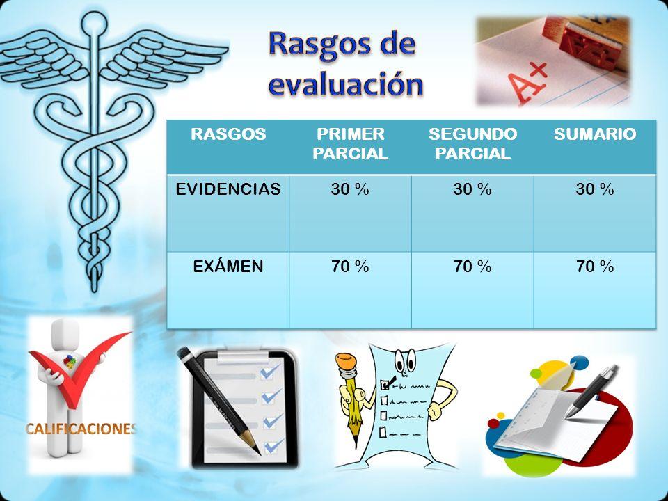 Rasgos de evaluación RASGOS PRIMER PARCIAL SEGUNDO PARCIAL SUMARIO