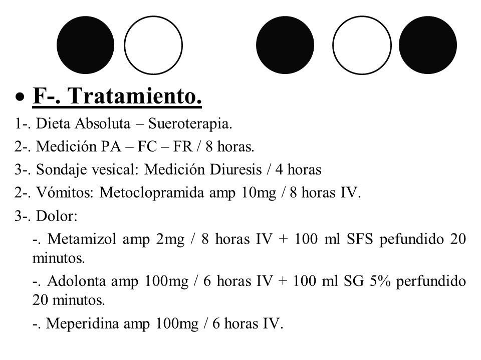 F-. Tratamiento. 1-. Dieta Absoluta – Sueroterapia.