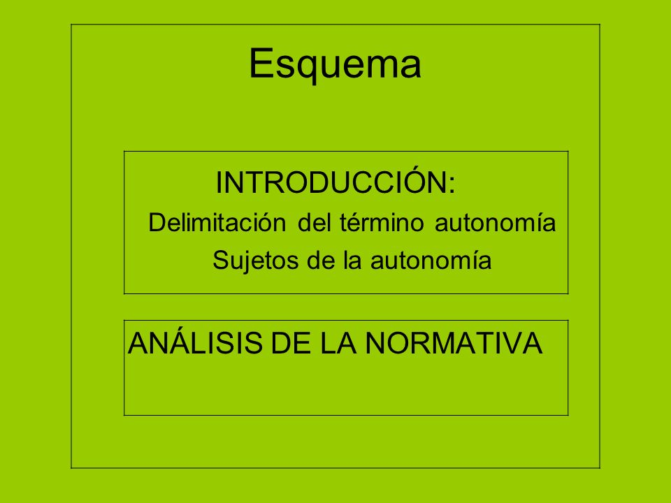 Esquema INTRODUCCIÓN: ANÁLISIS DE LA NORMATIVA
