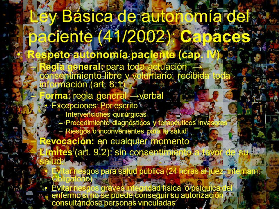 Ley Básica de autonomía del paciente (41/2002): Capaces