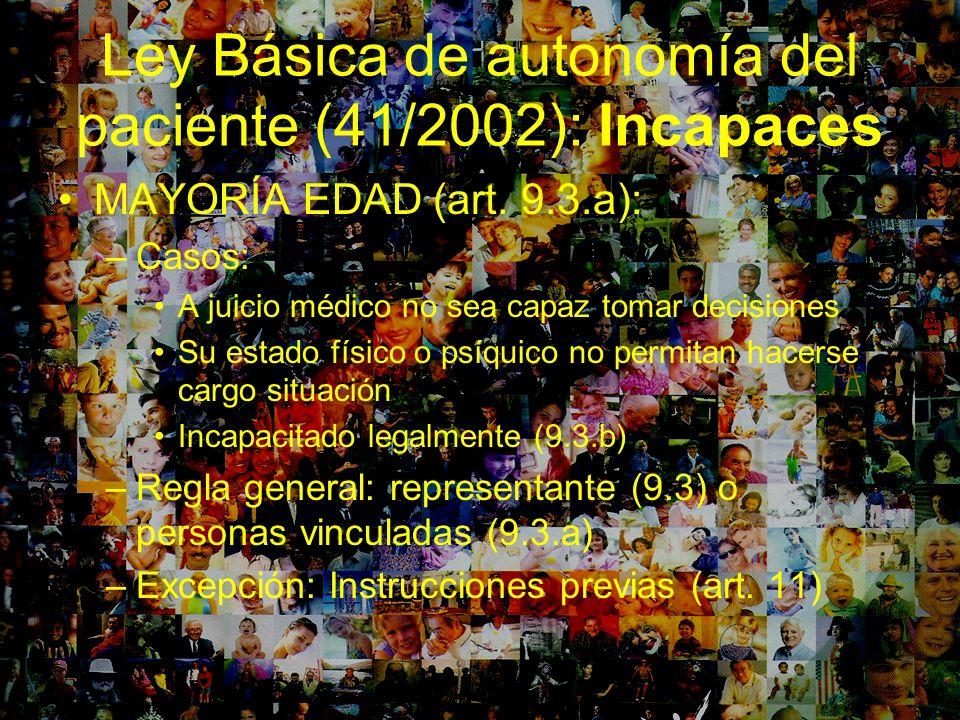 Ley Básica de autonomía del paciente (41/2002): Incapaces