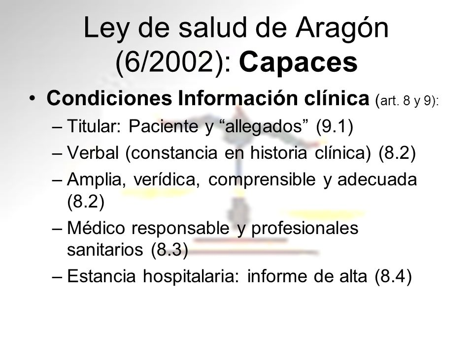 Ley de salud de Aragón (6/2002): Capaces