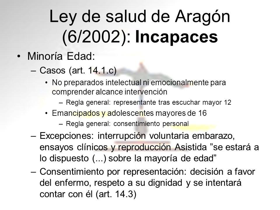 Ley de salud de Aragón (6/2002): Incapaces