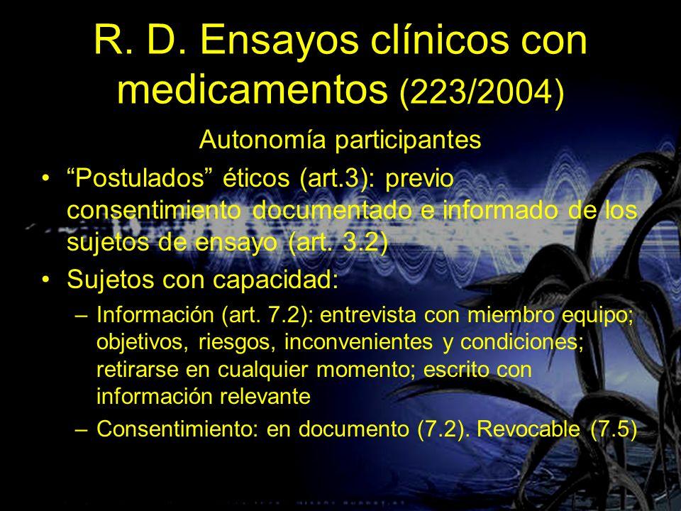 R. D. Ensayos clínicos con medicamentos (223/2004)