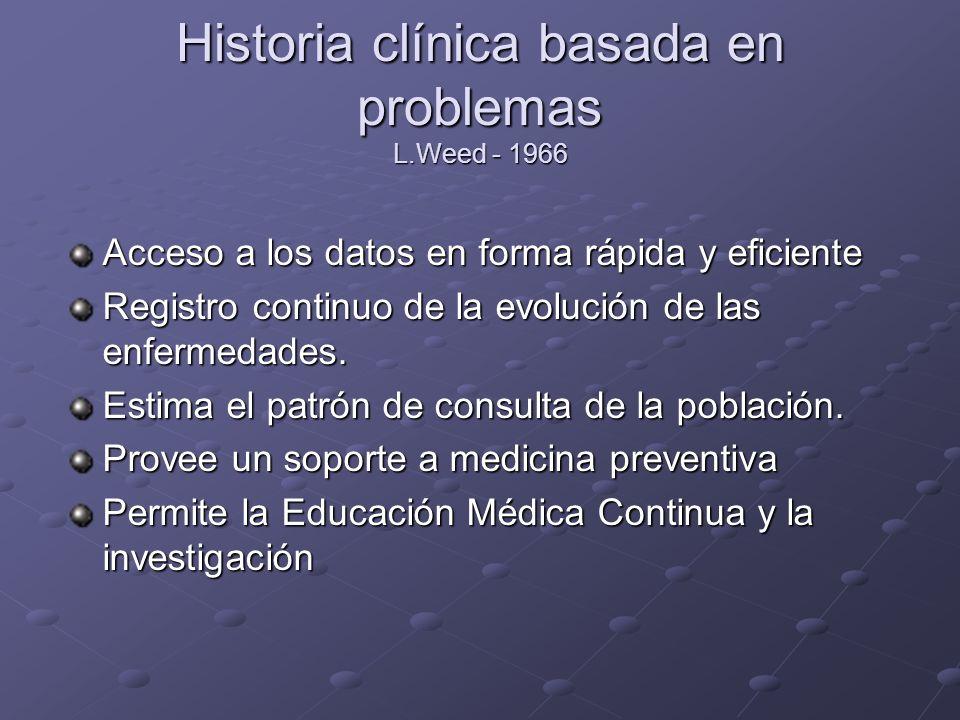 Historia clínica basada en problemas L.Weed - 1966