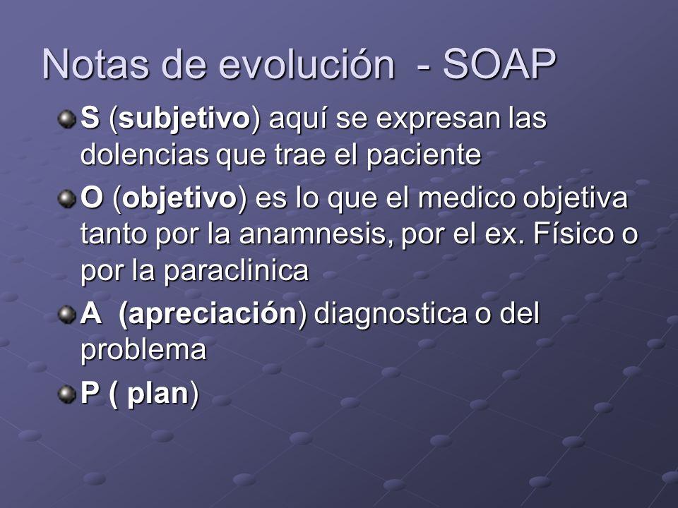 Notas de evolución - SOAP
