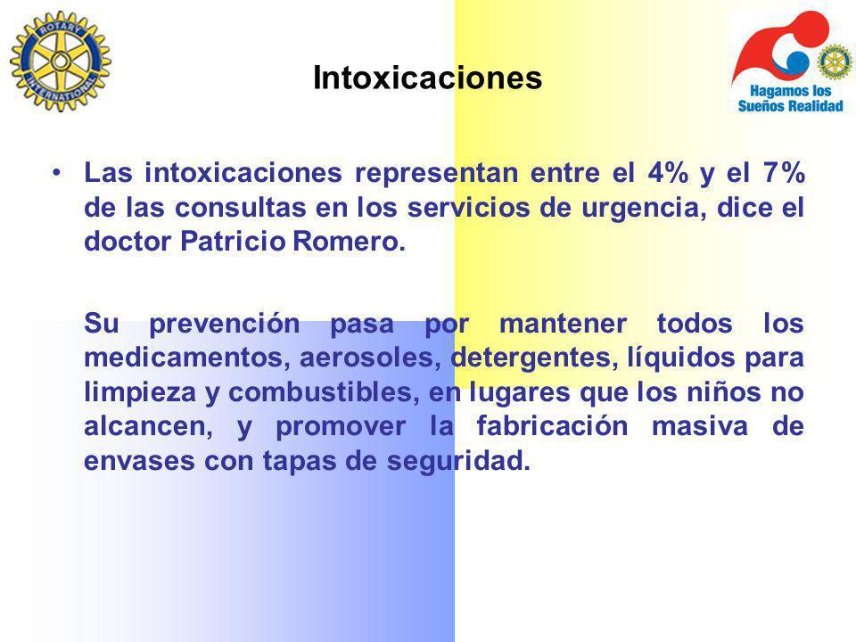 Intoxicaciones Las intoxicaciones representan entre el 4% y el 7% de las consultas en los servicios de urgencia, dice el doctor Patricio Romero.